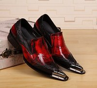 Wholesale New Men Mocassins Shoes Slip On Patent Leather Loafers Black Red Dress Shoes For Men