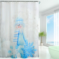 bath store showers - 2016 Waterproof Christmas Lantern Snowman Polyester Shower Curtain Bath Bathing Sheer Curtain for Home Store School Decorations