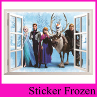 Wholesale Frozen Movie Wall Stickers Home Decor Window Wall Cartton Vinyl Wall Stickers Removable d Wall Decals Art Of Frozen ZooYoo1417