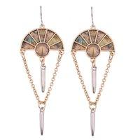 art deco chandelier earrings - Hot Sale Gold tone Chains Dangling Beneath Art Deco inspired fans Abalone Statement Drop Earrings for Women Jewelry