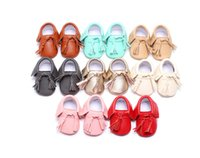 Wholesale Boys and girls fringed soft soled shoes candy color PU Spring Autumn baby toddler shoes children indoor shoes D2