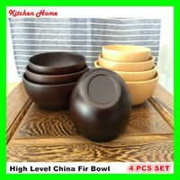 Wholesale 4PCS SET China fir Wooden salad bowl fruit bowl soup bowl wooden rice bowl mixing bowl