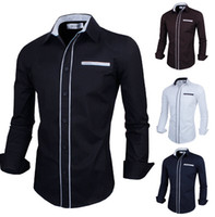 Wholesale HOT Spring Mens Fashion Dress Shirts Simple Stylish Slim Fit Brand Long sleeved Shirts Colors
