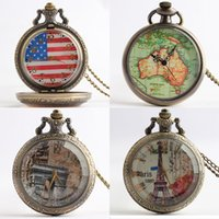 antique maps - Sword Art Online pocket watch Eiffel Tower Rose Australia map American flag fashion Quartz watches fashion watch