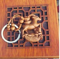 ada accessories - Mahogany carved double solid ferro toward the sheep wing key chain fortune wing toward the three Yang kaitai sheep car accessories ADA
