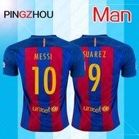 Wholesale 16 Messi jerseys A INIESTA SUITEZ MESSI NEYMAR JR Rakitic Soccer jerseys Thai Quality Neymar home away third Soccer jerseys