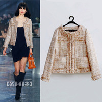 apricot woolen - Elegant Womens Woolen Jackets Coats Apricot Beaded Tweed Knitted Cardigan Coat Winter Trench Coats Ladies Work Overcoats ZRF0904