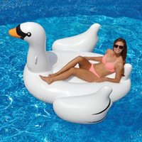 Wholesale Inflatable Swan Floating Bed Drainage Environmental Protection Material Lying Drainage Water Bed Water Sports New Hot Sale Swimming