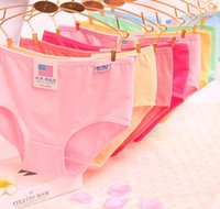 Wholesale Fashion cotton panties candy color solid underpants women girl briefs knickers underwear colorful drop shipping