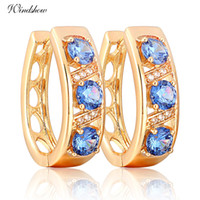 Wholesale Gorgeous K Yellow Gold Plated Three Round Blue Sapphire and CZ Accent Hollow U Huggie Hoop Earrings Jewelry for Women bijoux