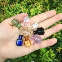 Wholesale Cute Bottles Metal Loop Corks Mini Bottles Rectangle Crafts Gift Pendants Diy Glass Jars Mix Colors