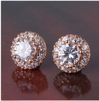 Wholesale White sapphire twinkling K rose gold filled FASHION stud earring k gold fashion jewelry store screw back