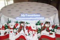 Wholesale hot Christmas red edge snowman round tablecloth fabric tablecloth Continental