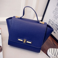 Wholesale Women fashion pu leather handbag litchi wings package Trapeze swing bag messenger bag