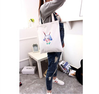 Wholesale Fashion Printed Women Canvas Shopping Bags Shopper Tote Zipper Shoulder Versatile Sack Summer Holiday Beach Handbag