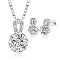 Wholesale S711 New Design silver plated Necklace Earring Jewelry Set with CZ crystal fashion wedding gift