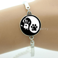 Wholesale Tai ji yin yang bracelet vintage handprint and cute dog footprint we are best friend handmade jewelry pet lovers gift