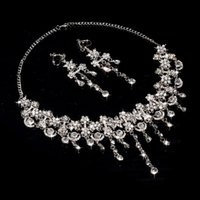 Wholesale Cheap Diamond Wedding Rings Set - Sparkly Bling Crystals Diamond Necklace Jewelry Sets 2016 Bridal Earrings Rhinestone Crystal Party Cheap Wedding Accessories Free Shipping