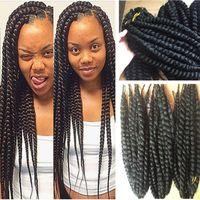 Wholesale Kanekalon synthetic braiding hair havana mambo twist crochet single jumbo braids hair extensions more colors Fedex DHL free