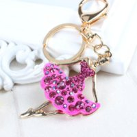 ballet key chains - New Arrive Ballet Girl Lady Lovely Pendent Charm Rhinestone Crystal Purse Bag Key Chain Accessories Fashion Gift