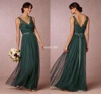 Wholesale Elegant Emerald Green Long Bridesmaid Dresses Sheer V Neck Open Back Sash Floor Length Maid of Honor Dress Wedding Guest Formal Gowns