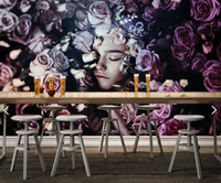 beautiful sound effects - Northern Europe beautiful rose girl mural wallpapers living room bedroom wallpaper painting TV background wall three dimensional wallpaper