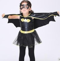 Wholesale Halloween Cute Girls Cosplay Dress Batman Dress with Capes Black Color Holiday Show Dress