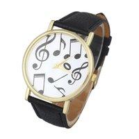 Wholesale Essential Casual Musical Notes Leather Band Analog Dial Wrist Watch Women Men Round Case Bangle Bracelet Quartz Relojes Relogio