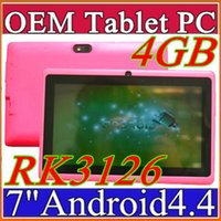 Acheter Allwinner pc-2016 7 pouces capacitif RK3126 Quad Core Android 4.4 double caméra Tablet PC 4Go 512MB WiFi EPAD Youtube Facebook Google Flashlight J-7PB