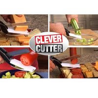 Wholesale New Clever Cutter in Stainless Steel Kitchen Scissors with Sharp Knife Blade Cutting Board Food Cutter