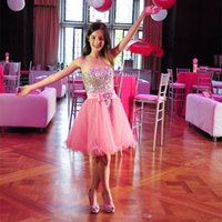 bat mitzvah dresses - Short Pink Girls Bat Mitzvah Dress with Beading Stones Strapless Knee Length Corset Back Short Prom Dress