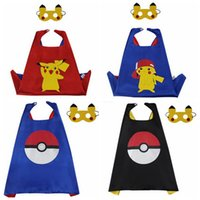 Wholesale Pikachu Cape Mask Poke Ball Cloak Masks Poke Go Cape With Mask Cartoon Costume Cape Halloween Cosplay Cape Halloween Mask Kids Gift B1060