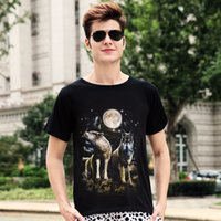 Wholesale Cool Fashion Wolf Girl Pattern Luminous Men Short Sleeves Round Collar Comfortable T shirt New Arrival