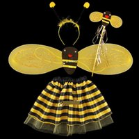bee kids costume - Cute Bee Set Halloween Children Cosplay Performance BEE Sets Kids Costume Dress Dance Dress Baby coaplay bee skirt Clothing A5646