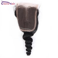 Wholesale Fast Delivery Bella Curly Silk Closure Loose Wave Brazilian Human Hair Lace Top Closures Piece Free Middle Three Way Part