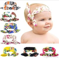 Wholesale Baby Girls Bunny Ear Headbands Infant Cotton Peony Print Twisted Knot Head Wrap Children Hair Accessories Elastic Hairbands Headdress KHA257