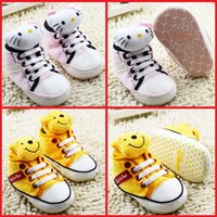Wholesale New baby toddler shoes spring autumn kids soft bottom shoes months Lacing Cartoon canvas shoes guarantee pair B3