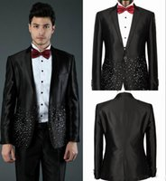 Wholesale New Black Sequins Custom Made Groom Tuxedos Jacket Vest Pant Tie Mens Clothing Designer Suits Blazers Yellow Champagne Jacket Pants