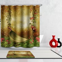 Wholesale Cartoon Printed Shower Curtain Swing Guideboard Door Path Castle Tree Cavity Forest Fabric Polyester with Hooks