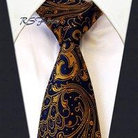 al por mayor marca de fábrica de seda de la corbata-Corbata larga azul de la marina de guerra de Paisley Glod del lazo largo del envío Corbata clásica tejida jacquard nueva de la seda del Mens del 100%