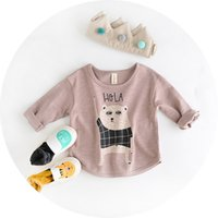 baby clothes teddy bear - 2016 new arrival autumn years baby clothes cute teddy bear print Bamboo cotton loose fleece