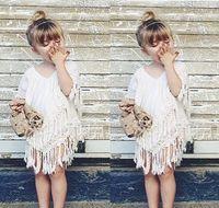 beautiful kids dresses - Beautiful Lace Girl dress Good Quality Lining Pure Cotton Children s Lace Vest Kids crochet shawl tassels poncho scarf INS tops blouse