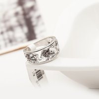 animal cocktail rings - 12pcs animal shaped silver plated women beautiful murano rhinestone cocktail ring party gift