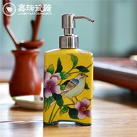 Wholesale Flower and birds pattern Ceramic hand soap dispenser hotel Amenity hand sanitizer bottle porcelain Lotion pump Dispenser