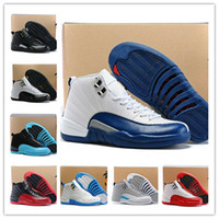 air games - With Box Cheap New Air Retro J12s XII Mens Basketball Shoes French Blue Hith Quality The Master Flu Game Taxi Playoffs Basketball Shoes