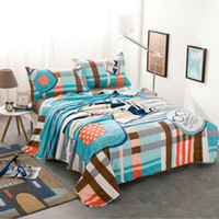 Wholesale Blue Plaid Summer Quilts for Kids Adults Cotton Home Textile Air conditioning Thin Quilt Blanket Gift Not Included Pillowcase