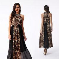 leopard print dress - Summer new Leopard print mosaic floor length skirts boho Beach dress sleeveless Leopard dress slim dress