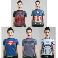 Wholesale 2016 Women Summer Superman tights compression t shirt sports fitness training running fast drying Gym Clothing t shirt