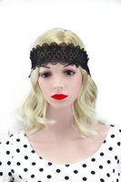 accessories lace wigs - 2016 women Korean black white sweet bride jewelry hair accessories wave lace Headband Tiara lady popular hair elastic headbands