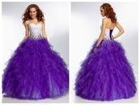 Wholesale Collared Girls Party Dress - 2016 Sparkle Beaded Ball Gowns Quinceanera Dresses Ice Blue Sweetheart Corset Organza Purple 16 Girls Puffy Party Gowns Vestido De Festa